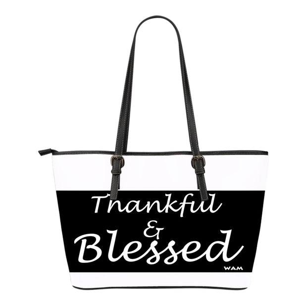 thankful and blessed small leather tote FREE SHIPPING