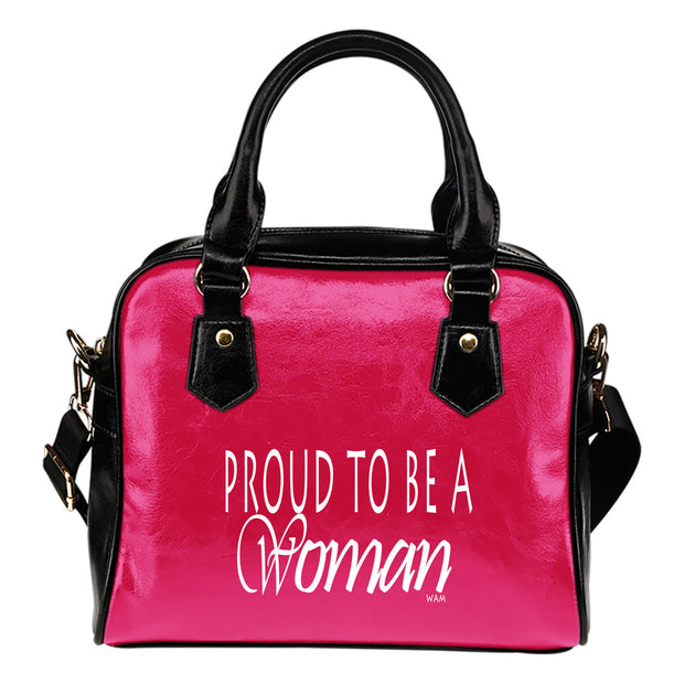 Proud to be a woman pink leather shoulder hanbag
