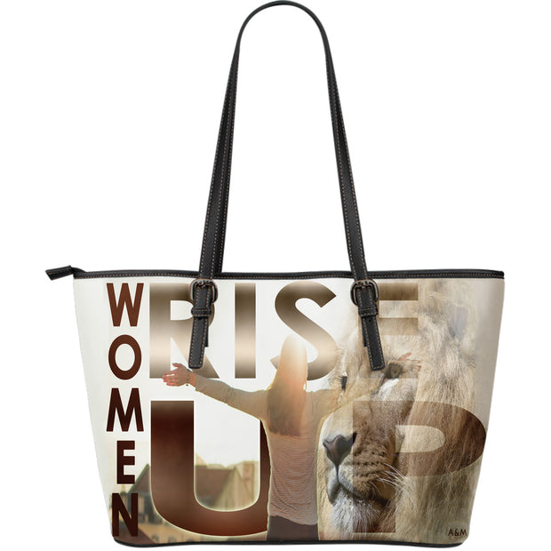 WOMEN RISE UP LEATHER TOTE PURSE
