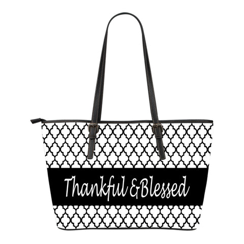 Thankful and blessed! Small leather tote bag
