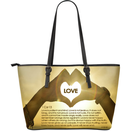 LOVE LEATHER TOTE PURSE