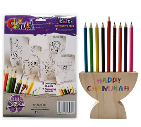 Hanukkah Kids Coloring Set and Menorah Pencil Holder. Chanukah Gift for Children.