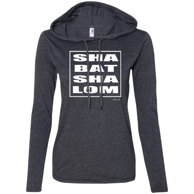 SHABBAT SHALOM SQUARE WHITE! 887L Anvil Ladies' LS T-Shirt Hoodie