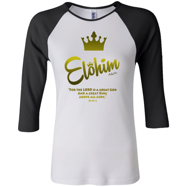 Elohim! Junior 100% Cotton 3/4 Sleeve Baseball T
