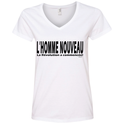 L'homme nouveau horizontal ! Ladies' V-Neck Tee