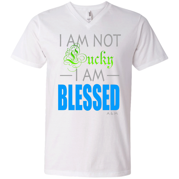 I AM NOT LUCKY, I AM BLESSED! Men's Printed V-Neck T