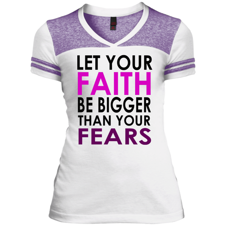 LET YOUR FAITH!  Juniors Varsity V-Neck Tee