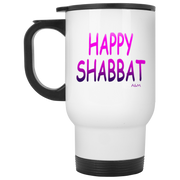 Happy Shabbat! White Travel Mug