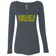 women rise up yellow line! NL6731 Next Level Ladies' Triblend LS Scoop