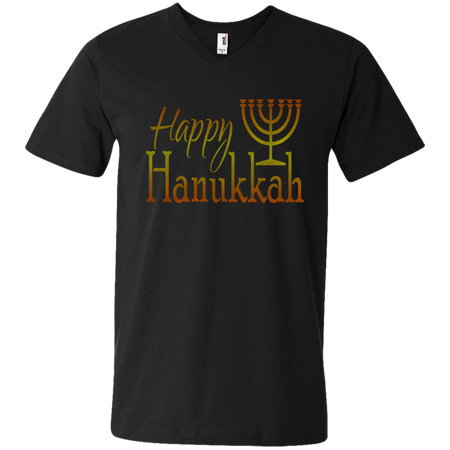 HAPPY HANUKKAH! Men's Printed V-Neck T
