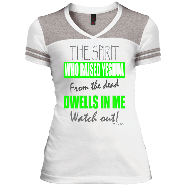 THE SPIRIT WHO RAISED YESHUA GRAY!  Juniors Varsity V-Neck Tee