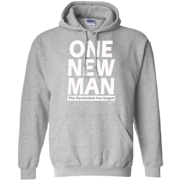 one new man white! Pullover Hoodie 8 oz