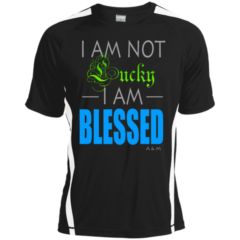 I AM NOT LUCKY, I AM BLESSED!Tall Colorblock Competitor Tshirt