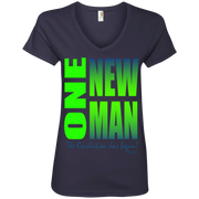 one new man 2  Ladies' V-Neck Tee