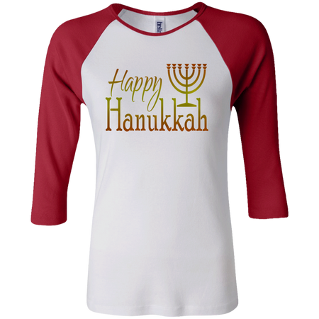 HAPPY HANUKKAH! Junior 100% Cotton 3/4 Sleeve Baseball T
