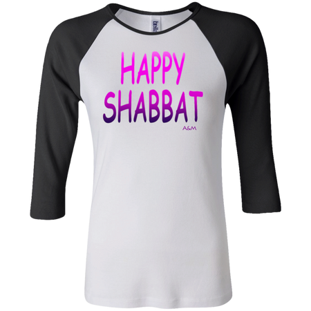 Happy Shabbat!  Junior 100% Cotton 3/4 Sleeve Baseball T