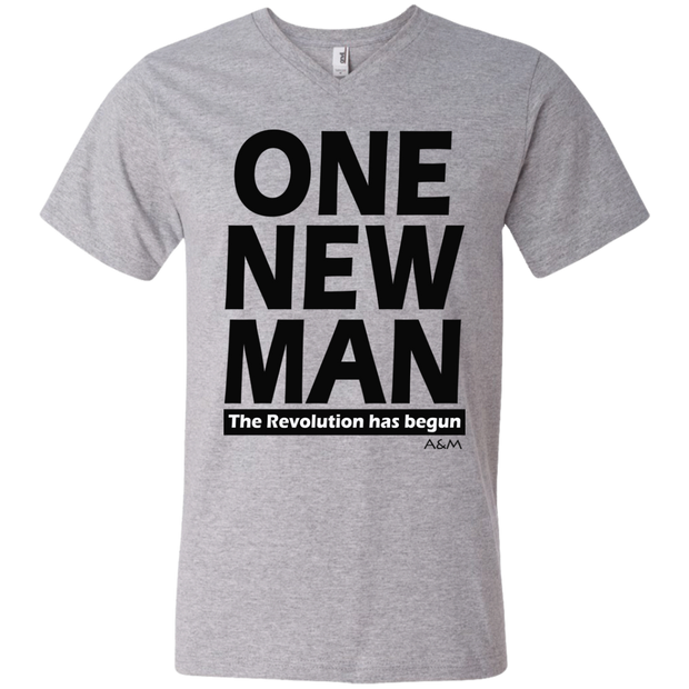 ONE NEW MAN!!  Men's Printed V-Neck T