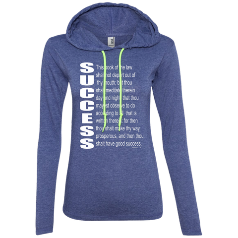 SUCCESS, (Josh 1.8) Ladies LS T-Shirt Hoodie
