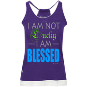 I AM NOT LUCKY, I AM BLESSED! Junior's Vintage Heathered Tank