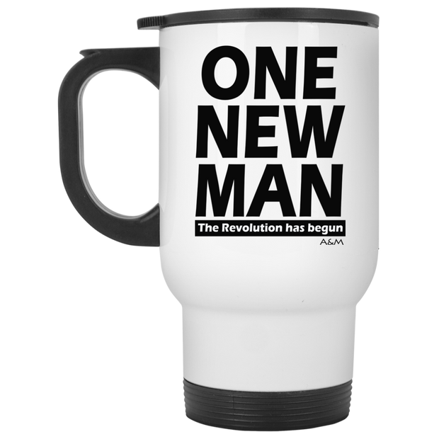 ONE NEW MAN!!  White Travel Mug