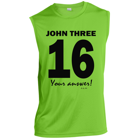 JOHN 3.16!  ST352 Sport-Tek Sleeveless Performance T-Shirt