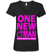ONE NEW WOMAN! Ladies' V-Neck Tee