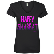 HAPPY SHABBAT ! Ladies' V-Neck Tee