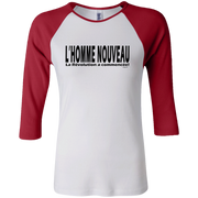 L'homme nouveau horizontal ! Junior 100% Cotton 3/4 Sleeve Baseball T