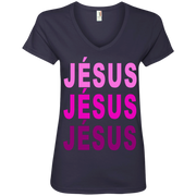 JÉSUS!Ladies' V-Neck Tee
