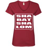 SHABBAT SHALOM SQUARE WHITE! 88VL Anvil Ladies' V-Neck T-Shirt