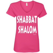 SHABBAT SHALOM! Ladies' V-Neck Tee