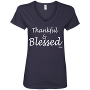 THANKFUL AND BLESSED!  88VL Anvil Ladies' V-Neck T-Shirt