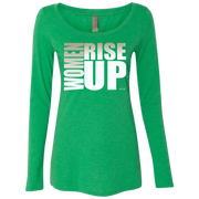 women rise up gen white! NL6731 Next Level Ladies' Triblend LS Scoop