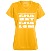 SHABBAT SHALOM SQUARE WHITE! 1790 Augusta Ladies' Wicking T-Shirt