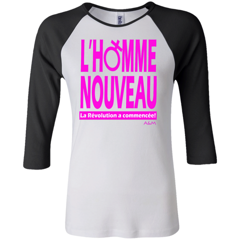homme nouveau femme! Junior 100% Cotton 3/4 Sleeve Baseball T