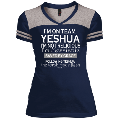 I'm on team Yeshua! Juniors Varsity V-Neck Tee