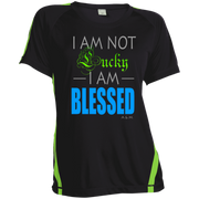 I AM NOT LUCKY, I AM BLESSED! Ladies' Colorblock Polyester Tshirt