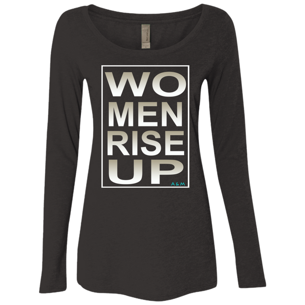 women rise up gen square! NL6731 Next Level Ladies' Triblend LS Scoop