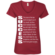 SUCCESS, (Josh 1.8)Ladies' V-Neck Tee