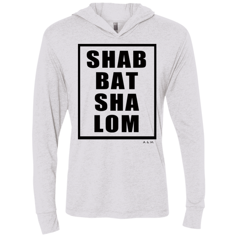 SHABBAT SHALOM square! NL6021 Next Level Unisex Triblend LS Hooded T-Shirt