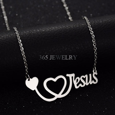 Stainless Steel I Love Jesus Stethoscope Pendant Gold Chain Silver Necklace