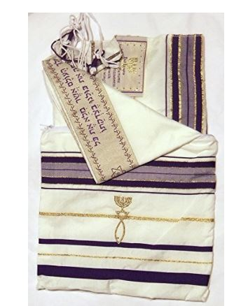 "Messianic Tallits prayer Shawl Covenant Messianic tallit prayer shawl ""Tallit"" 72x22 inch. Purple messianic Jewish christian tallits with Hebrew wording from Israel"