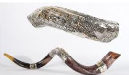 Shofar with Old City of Jerusalem Silver Plated Yemenite