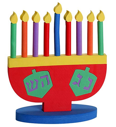 Hanukkah Foam Toy Menorah with Removable Candles and Star of David
