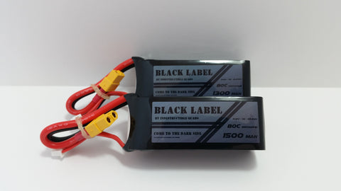 "Indestructible Quads ""Black Label"" 4S True 80C Racing LiPo 1300mAh/1500mAh Battery V2"