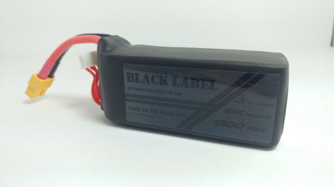 "Indestructible Quads ""Black Label"" 5S True 80C Racing LiPo 1300mAh Battery"