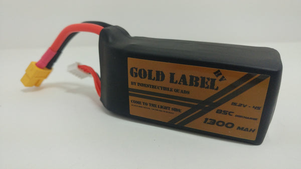 "Indestructible Quads ""Gold Label"" 4S HV True 85C Racing LiPo 1300mAh/1500mAh Battery"
