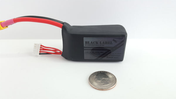 "Indestructible Quads ""Mini Black Label"" 4S True 70C Racing LiPo 850mah Battery"
