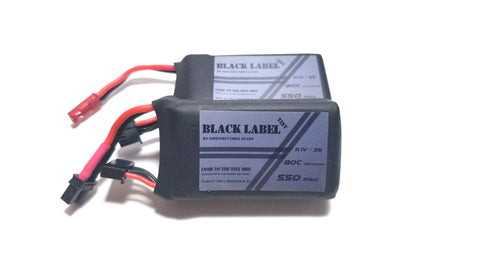 "Indestructible Quads ""Tiny Black Label"" 3S True 80C Racing LiPo 550mah Battery"