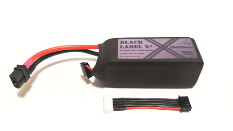 "Indestructible Quads ""Black Label X"" 4S True 100C Racing LiPo 1500mah Battery"